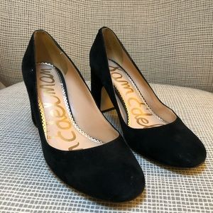 SAM EDELMAN suede block heel pumps